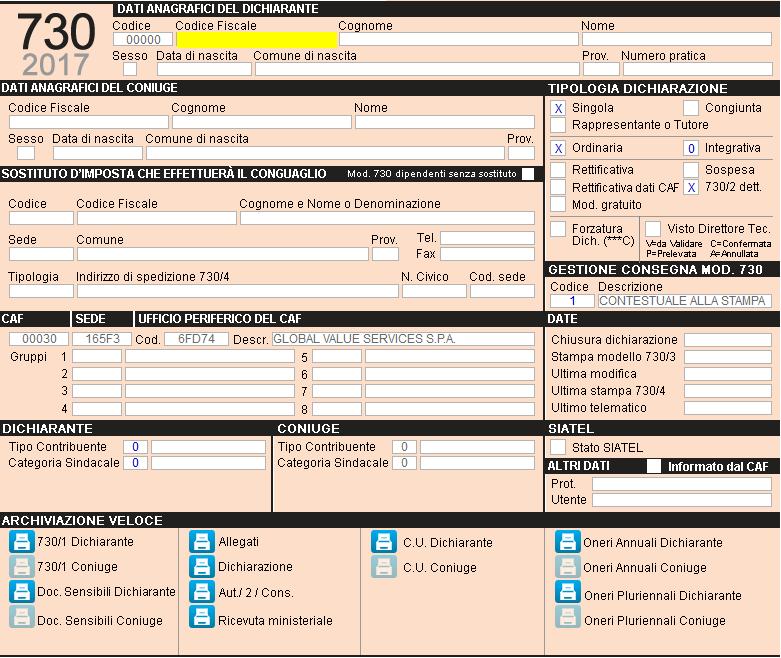 Modello 730 2017 5 1 quadro impostazione for 730 obbligatorio